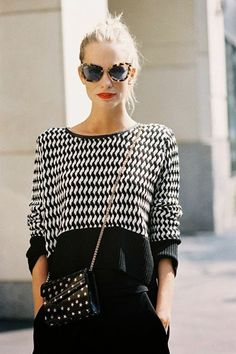 We love the look of a red lip paired with black and white apparel.