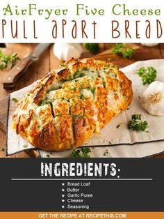 Air Fryer Five Cheese Pull Apart Bread via @recipethis