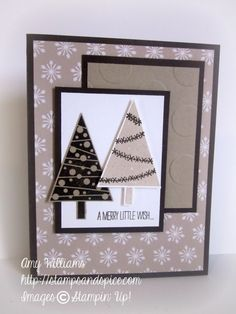Stampn' Up! ... handmade Christmas card ... Fesitval of Trees ... neutral colors ... great design could be done in traditional colors or brights and still be a great card ...
