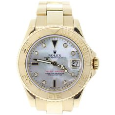 Rolex Pre-owned Rolex Watch ($18,895) ❤ liked on Polyvore featuring jewelry, watches, apparel & accessories, yellow watches, dial watches, bezel bracelet, bezel watches and yellow jewelry