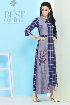 Blue-Rayon-Printed-Designer-Party-Wear-Full-Length-Kurthi-106-32343 Whatsapp :- +91 9377709531 #bulk #wholesale #wholesalesupplier #wholesaledealer #bulksupplier #bulkdealer #kurti #kurta #wholesaler #stylish  #kurtiwholesaler #kurtiwholesalesupplier #kurtibulksupplier #kurtibulkdealr #kurtawholesaler #suratwholesaler #latestkurtis  #LKFABKART Salwar Designs, Kurti Neck Designs, Dress Neck Designs, Blouse Designs, Dress Muslim Modern, Trendy Dresses, Fashion Dresses, Kurta Patterns, Iranian Women Fashion