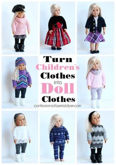 Turn old children's clothes into doll clothes from confessionsofaser. Source by christykjames clothes American Girl Outfits, American Girl Crafts, American Doll Clothes, American Girls, Sewing Doll Clothes, Baby Doll Clothes, Sewing Dolls, Diy Clothes, Children Clothes