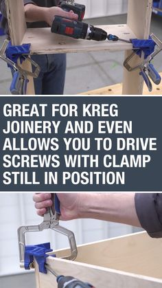 The 90° Corner Clamp works great for building with Kreg pocket-hole joinery. It even has access points in the outer V that allow you to drive a Kreg Screw with the clamp still in position. #kregtools #clamps #tools #shelves #diyproject #diyfurniture #woodworking #woodprojects #homeowner #garage #workshop #buildsomethingwithkreg #kregjig #kregjigproject