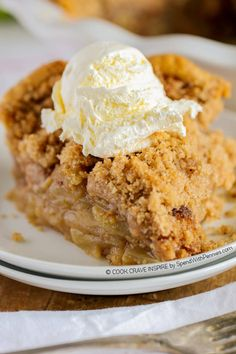 The BEST Apple Crumb Pie! This is truly the best apple pie recipe you'll ever make! Loaded with fresh tart apples and topped with a sweet brown sugar crumble, this is one recipe that will be requested over and over!