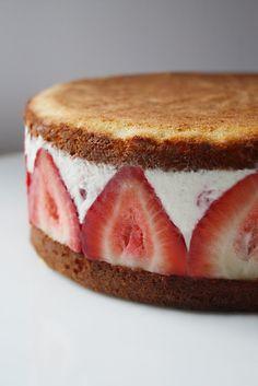 生クリームの代わりにマスカルポーネクリームを使った、大人っぽい洒落たホールケーキです。  オリジナルのレシピでは本格的にスポンジケーキから作っていますが、HMで簡単に焼き上げたスポンジケーキを使いましょう。スポンジケーキを半分にスライスして、用意したクリームを充填するだけです。フィリングとなるクリームの材料と作り方だけ以下で紹介します。 (★オリジナルレシピは以下で紹介するリンク先を参考にして下さい。)