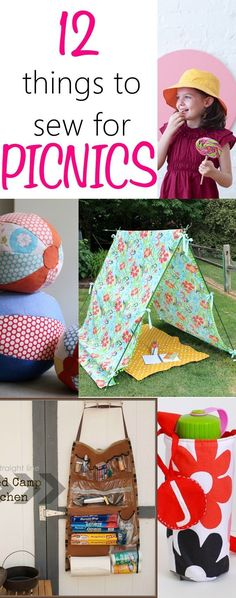 Things to sew for a PERFECT picnic. Make your summer picnics more fun with these awesome things to sew for picnics. Tutorial for picnic blankets, hats, tents, fabric balls.