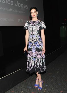 Krysten Ritter in Temperley London and Sophia Webster shoes at the SVA Theatre and SAG-AFTRA Foundation presented screening of Netflix's Jessica Jones
