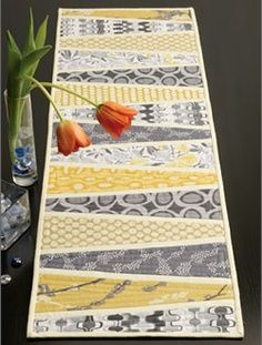 Table runner made from fabric samples