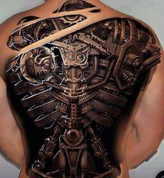 Biomechanics Tattoo - People and Machines Tattoos 3d, Tattoo Henna, Badass Tattoos, Back Tattoos, Body Art Tattoos, Sleeve Tattoos, Cool Tattoos, Cyborg Tattoo, Biomech Tattoo