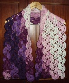 Crochet scarf with Eastern Fan Pattern Crochet Scarves, Crochet Shawl, Crochet Clothes, Crochet Stitches, Free Crochet, Knit Crochet, Crocheted Scarf, Crochet Diagram, Russian Crochet