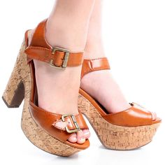 Tan Peep Toe Retro Womens Faux Cork High Chunky Heel Platform Shoes