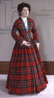 Circa 1845 Royal Stewart tartan wool dress with ruched silk trimming