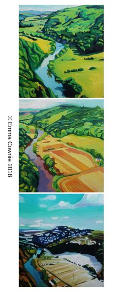 Three paintings of Symonds Yat at different times of the year by Swansea artist, Emma Cownie
