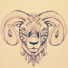 A4 drawing of the zodiac sign Aries by Icelandic artist MÓHH from her store on www.Kisinn.com.
