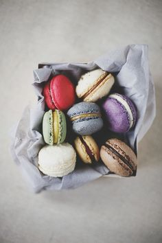 This photo shows coloured macaroons