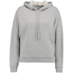 T by Alexander Wang Cotton-blend French terry hooded sweatshirt found on Polyvore featuring tops, hoodies, shirts, grey, t by alexander wang hoodie, t by alexander wang, side slit top, sweatshirt hoodies and hooded pullover