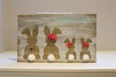 Easter Bunny Sign, Wooden Bunny Family Sign, Easter Family Sign, Woden Bunnies, Easter Decor, Spring decor, Bunny Family, Happy Easter Sign