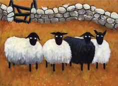 Ewe-nited together - Thomas Joseph Sheep Paintings, Animal Paintings, Sheep Illustration, Art Fantaisiste, Sheep Crafts, Sheep Art, Sheep And Lamb, Naive Art, Art Graphique
