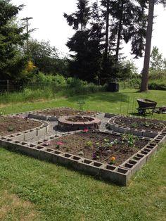 My amazing cinder block square foot garden planting