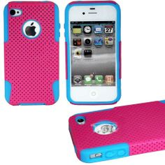 """myLife (TM) Magenta + Sky Blue Urban Armor (2 Piece Mesh Hybrid) Toughsuit Case for iPhone 4/4S (4G) 4th Generation Touch Phone (Thick Outer Shockproof Rubber + Soft Internal Silicone Gel + myLife (TM) Lifetime Warranty + Sealed In myLife Authorized Packaging Only) """"ATTENTION: This 2 piece protective case has a mesh design that allows your phone to slide easily in and out of your pocket but prevents the phone from slipping in your hands"""" - http://www.mormonslike.com/mylife-tm"""