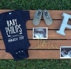 Pregnancy announcement baby onesie personalized baby onesie March 2017
