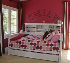 Full-size daybed with shelving and trundle!