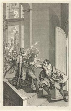 Assassination of  Willem van Oranje, 1584, by Adolf van der Laan, Jan Luyken, Romeyn de Hooghe, 1694 - 1755