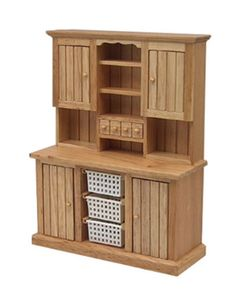 VERY-NICE-1-12-Scale-Dollhouse-Miniature-Oak-Wooden-Hutch-with-Baskets-WCK79