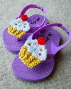 Crochet Embellished Party Cupcake Flip Flops