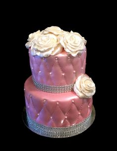 Sweety Cakes - Pink, rose and bling cake  www.sweetycakes.ca