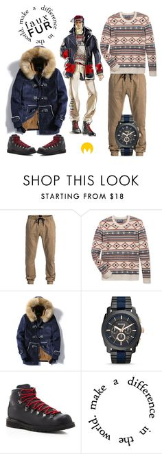 """""""Snowing days"""" by imageconsultingzurich ❤ liked on Polyvore featuring Quiksilver, American Rag Cie, FOSSIL, Danner, men's fashion, menswear, winterboots and veganwithstyle"""