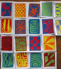 Schutzart: Grade 8 block reduction prints, focusing on abstract designs and color