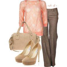Pretty light pink top w/ the dark brown work pants