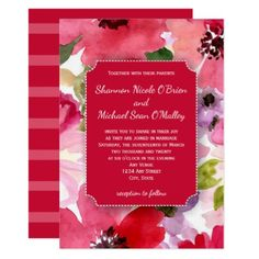 Modern Floral Red Watercolor Wedding Invitation - invitations personalize custom special event invitation idea style party card cards