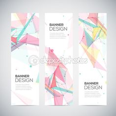 Vector vertical banners set with polygonal abstract shapes, circles, lines, triangles — Stock Illustration #54343153