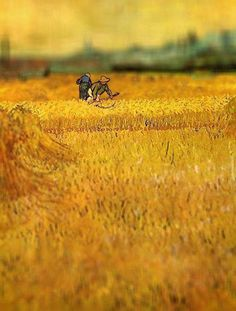 Arles: View from the Wheat Fields, Van Gogh, 1888  Serena Malyon, a 3rd year art student, collected some of Van Gogh's most beautiful paintings and altered them in Photoshop to achieve this amazing tilt-shift effect.