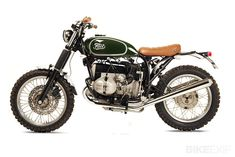 """Based on a 1984 BMW R80ST. The Fuel R80 STrial, inspired by ISDT bikes—the Triumphs, BSAs and Pentons of the 1960s that competed in the International Six Days Trials. """"Light bikes with small headlights, flat handlebars, a minimalist seat and off-road tires,"""" says Fuel main man and BMW Motorrad enthusiast Karles Vives."""""""