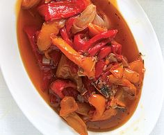 Stewed Sweet Peppers (Peperonata)  This sweet, simple pepper stew is an ideal use for summer's bounty of sweet peppers. It makes a great antipasto atop bruschetta.