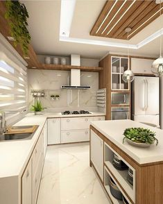 Cozinha lindíssima by Ana Marangoni (… Hello domingo! ✌☘ Cozinha lindíssima by Ana Marangoni ( Source [New] The 10 Best Home Decor (with Pictures) - Hello domingo! Cozinha lindíssima by Ana Marangoni ( What I call the kitchen is completely and c Kitchen Ceiling Design, Luxury Kitchen Design, Kitchen Room Design, Contemporary Kitchen Design, Kitchen Cabinet Design, Home Decor Kitchen, Interior Design Kitchen, Home Kitchens, Diy Kitchen