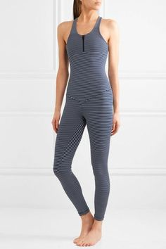 Olympia Activewear - Olympus Striped Stretch-jersey Bodysuit - Navy Olympia  Activewear 000be25cf