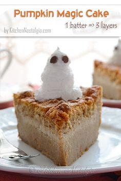Pumpkin Magic Cake - autumn flavor of the amazing 1 batter-3 layers-magic cake - from kitchennostalgia.com