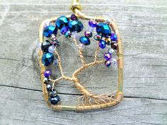 Dark Waters Crystal Brass Tree of Life Pendant/Necklace Gift Boxed by BeadingonaBudget on Etsy