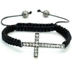 """Clear w/ Silver Cross Swarovski Crystal Adjustable From 6.5""""-11""""shamballa Style Bracelet Pro Jewelry. $9.99. bracelet that is weaved by waxed cord.  one Silver  plated cross bead, 2pcs of 8mm alloy beads. Its weight is about 20g and the size is adjustable.. Material: Swarovski Crystal stone,Alloy and waxed cord. Size of the cross bead is 21*37mm. The cross has 20pcs of  clear stones.. Size : Adjustable from 6.5""""-11"""""""