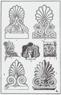 Architectural Ornament - Acrotirion examples - It is thought that the palmette originated in ancient Greece 2,500 years B.C., and has influenced Roman art. Acrotiri were used to decorate door portals as seen in Pompeiian wall paintings. They can still be readily found and used in Greek domestic architecture.