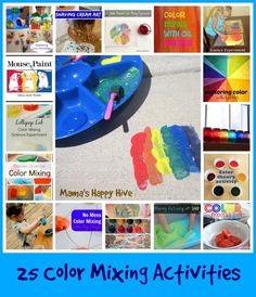 25 Color Mixing Activities at www.mamashappyhive.com