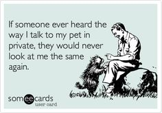 If someone ever heard the way I talk to my pet in private, they would never look at me the same again.