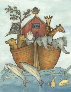 11X14 Noah's Ark Print From My Original Watercolor Artwork. $20.00, via Etsy.