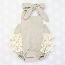 linen and lace baby girl ruffle bubble romper sunsuit