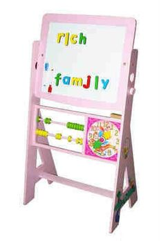 Tigris Wholesale Pink Drawing Easel and Board - Availability: in stock - Price: Pink Drawing, Wooden Building Blocks, Wooden Easel, Problem Solving Skills, Diy Kits, Toy Chest, Boards, Toys, Storage