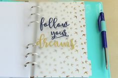 Planner Dashboard - Clear Transparent Dashboard - Quote Follow your Dreams…